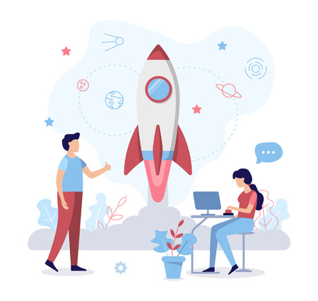 A team of specialists launches the rocket. Run the project. Business concept. Web development. Flat vector illustration. Ilustração