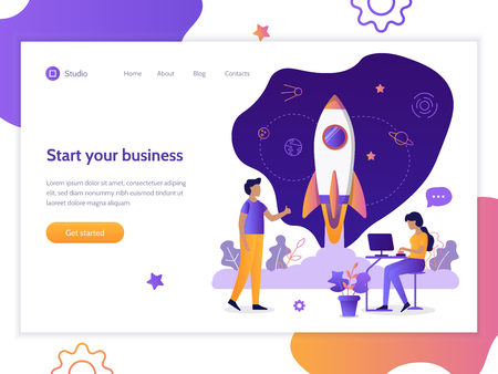 Launch of a new business project. Web banner design template. Startup concept. Teamwork and development. Flat vector illustration.