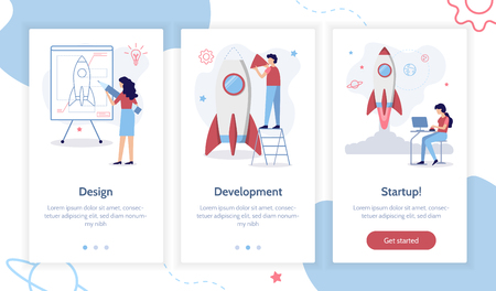 Stages of launching a startup. From idea to finished product. Creation of a rocket. Onboarding screens template for mobile applications and websites. Flat vector illustration.