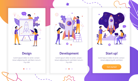 The development team is working on the project. Creation of a rocket. Onboarding screens template for mobile applications and websites. Flat vector illustration. Vector Illustration