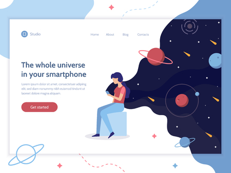 The whole universe in your smartphone. The girl is holding a phone from which the space is flowing. Web development. Web banner design template. Flat vector illustration.