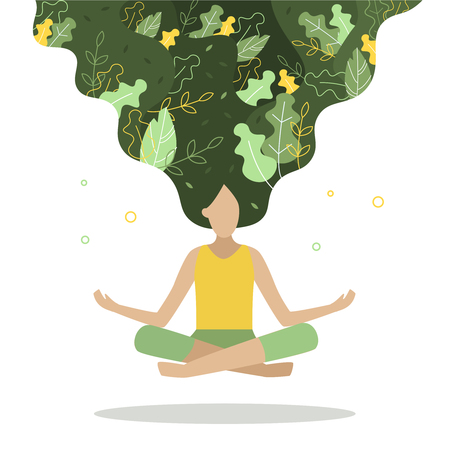 Women with plants in her hair. She floating in the air in a lotus position. The concept of health, beauty, natural products, body care, yoga center. Flat vector illustration.