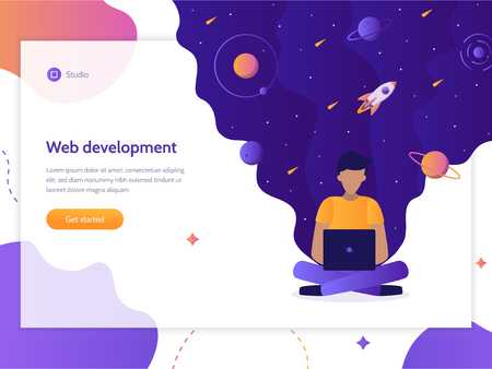 Web development. Programmer works at a computer from which flows space. Landing design template. Flat vector illustration.