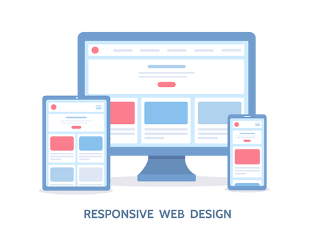 Responsive web design. The website is open on different devices: computer, tablet and smartphone. Flat vector illustration.