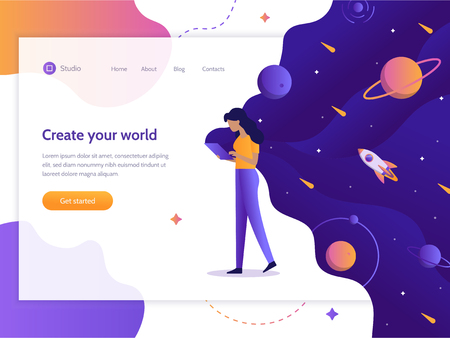 Create your world. Web development. Girl holding a device in which space. Web banner design template. Flat vector illustration.