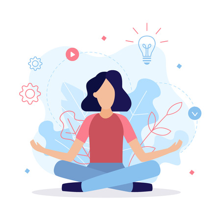Girl sitting in lotus pose. Thought process, search for ideas and work on the project. Business concept. Flat vector illustration.