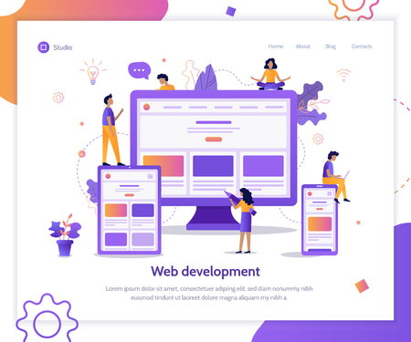 Developers are testing an adaptive website. Landing page template. Responsive design. Web development concept. Flat vector illustration. Ilustrace