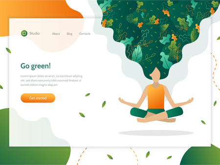 Go green!  Web banner design template. Girl floating in the air in a lotus position. Leaves are woven into her hair. The concept of ecology. Flat vector illustration. Illustration