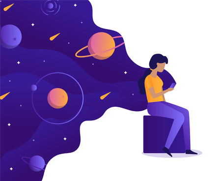 Girl holding a smartphone in which space. The girl is holding a smartphone from which the space is flowing. Web development business concept. The user uses a new application, impressions, emotions, testing.Flat vector illustration.