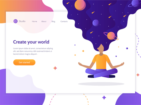 Create your world. Web banner design template. Girl floating in the air in a lotus position. In her hair the whole universe. Flat vector illustration. Ilustrace