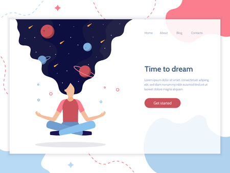 Time to dream. Web banner design template. In the womens hair space: planets and stars. She floating in the air in a lotus position. Flat vector illustration. Illustration
