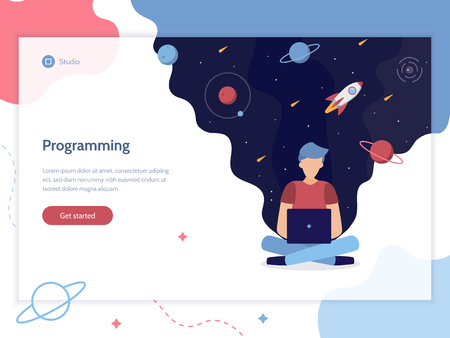 Programming. A man works at a computer from which flows space. Web development. Web banner design template. Flat vector illustration.