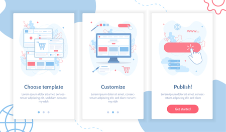 Steps to create your own website. Website builder concept. Onboarding screens template. Mobile app design. Flat vector illustration. Vecteurs