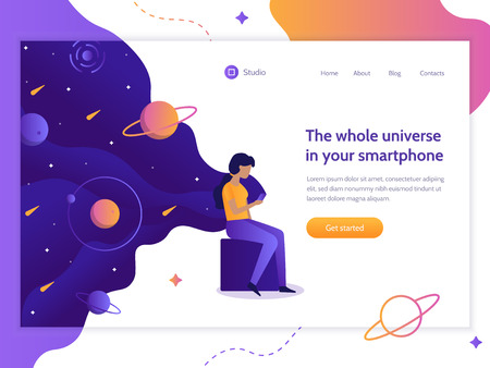 The whole universe in your smartphone. The girl is holding a phone from which the space is flowing. Web development. Flat vector illustration. Ilustrace