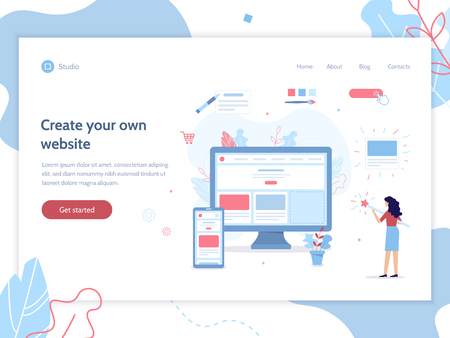 Web banner design template. The girl creates her own website. Shes holding a magic wand. Website builder concept. Flat vector illustration.