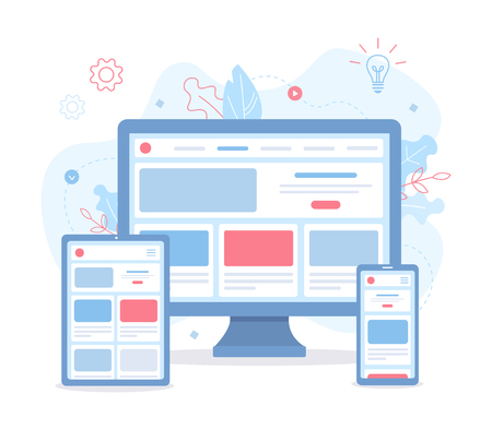 The website is open on different devices: computer, tablet and smartphone. Responsive web design. Flat vector illustration.