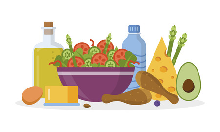 Ketogenic diet concept. Keto food on the table. Flat design. Vector illustration.
