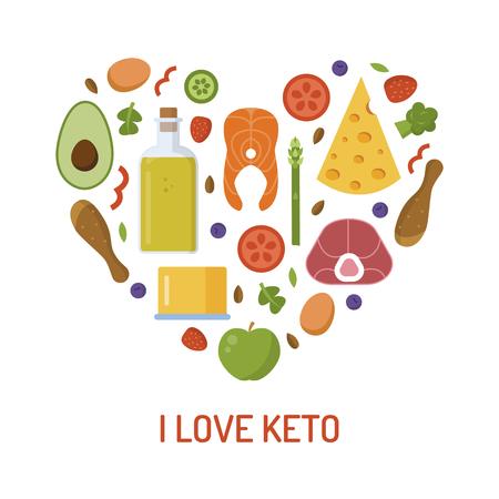 Heart of ketogenic products. Emblem I love keto. Flat design. Vector illustration.