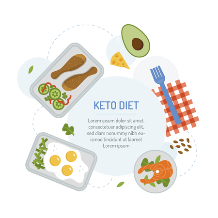 Keto diet. Meal planning menu for the day. The food in the containers with text area. Flat design. Vector illustration.