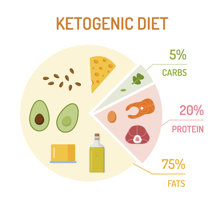 Ketogenic diet chart. The percentage of fats, proteins and carbs. Flat design. Vector illustration. Illustration
