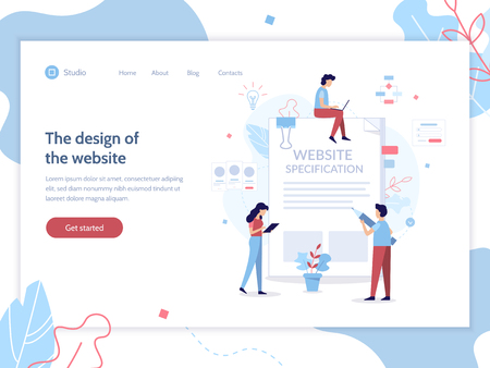 The design of the web site. Website specification web banner template. Flat vector illustration.