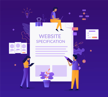 Website specification concept. A team of specialists prepares document. Web development. Flat vector illustration.