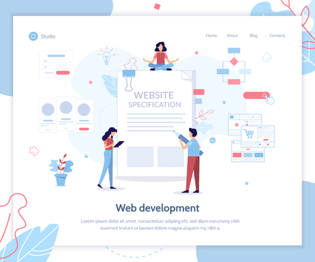 Landing page template. Website specification banner. Web development. Flat vector illustration. Ilustrace