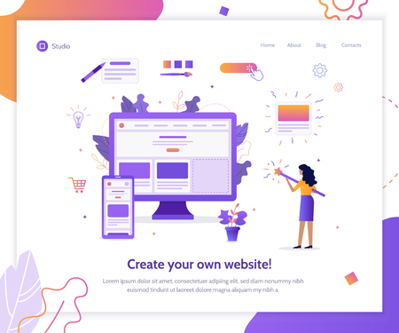 The girl creates her own website. Shes holding a magic wand. Web banner design template. Flat vector illustration.