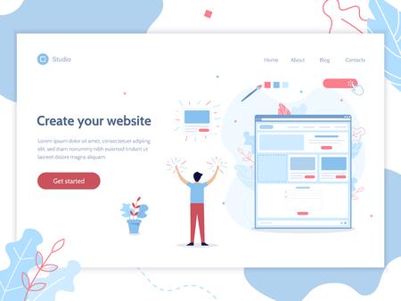 Crea il tuo sito web. Modello di progettazione banner web. Concetto di costruttore di siti web. Illustrazione vettoriale piatto.