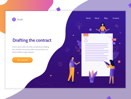 Landing page banner. Business contract concept. Flat vector illustration. Ilustrace