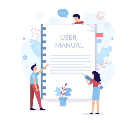 A team of specialists make up the user manual. Web development concept. Flat vector illustration.