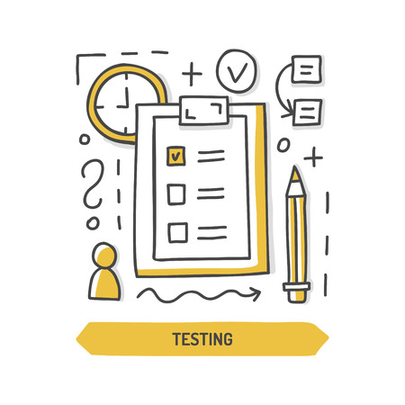 Website testing doodle icon. Web development. Hand drawn vector illustration.