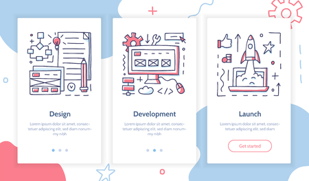 Stages of launching a startup. From idea to finished product. Doodle style. Onboarding screens template. Mobile app design. Business concept. Vector illustration.