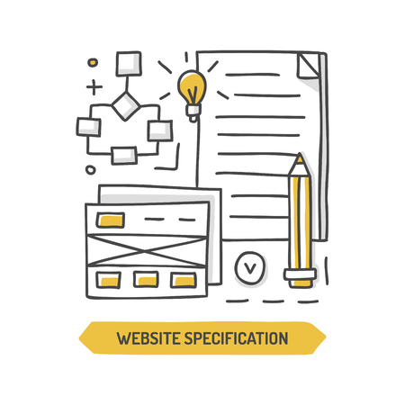 Website specification doodle icon. Web development. Hand drawn vector illustration. Ilustrace