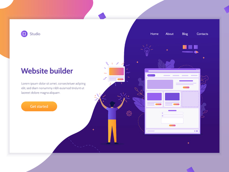A man creates his own website. Website builder concept. Vector illustration template for web site. Flat design. Ilustrace