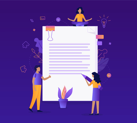 Business contract concept. The team of specialists draw up a document. Flat vector illustration.