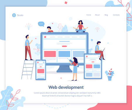 Development team create responsive website. Landing design template. Web development concept. Flat vector illustration. Ilustrace