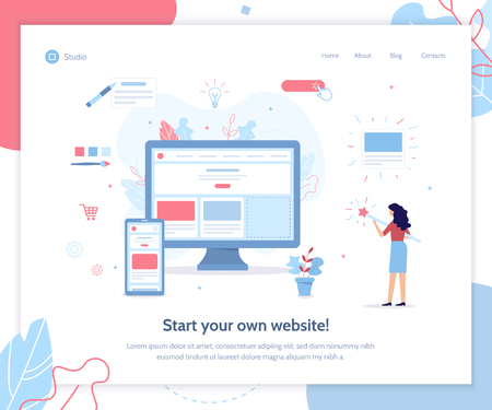 Start your own website. Web banner design template. Website builder concept. Flat vector illustration.