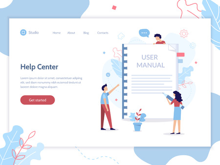 Help center web banner template. User manual concept. Flat vector illustration. Ilustrace