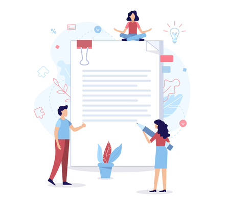 A team of specialists draw up a contract. Flat vector illustration.