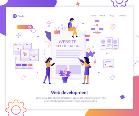 A team of specialists prepares website specification. Landing page template. Flat vector illustration.