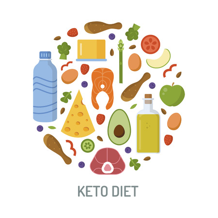 Round emblem with keto products. Ketogenic diet concept. Flat design. Vector illustration. Illustration