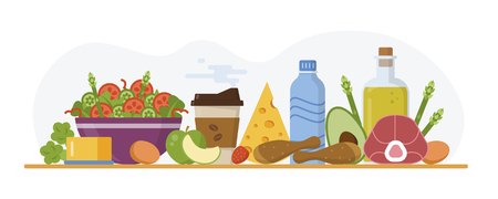 Keto diet concept. Ketogenic food and drinks on the table. Flat design. Vector illustration.