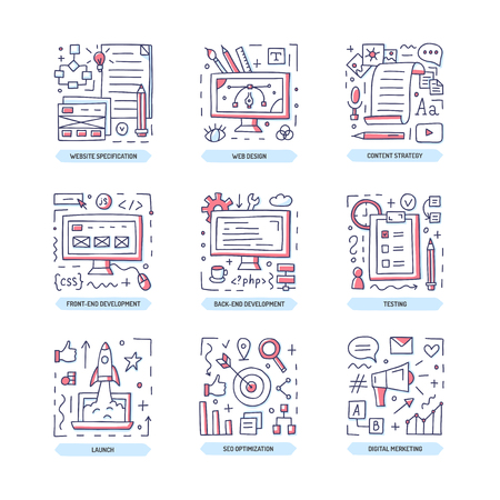 Web development doodle icon set. Wesite specification, design, frontend and backend, content strategy, degetal marketing, launch, seo optimization. Vector illustration.