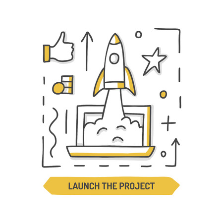 Launch the rocket. Startup doodle icon. Web development. Hand drawn vector illustration. Ilustrace