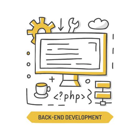 Back-end development  doodle icon. Website cteation. Hand drawn vector illustration.-end development Ilustração