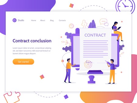 Contract conclusion. A man holds a pen and wants to sign. Web page design template. Flat vector illustration.
