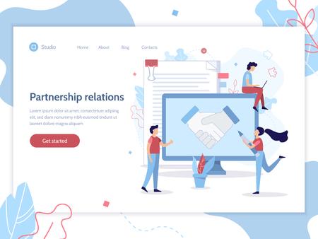 Partnership relations. Web banner design template. Business concept. Flat vector illustration.   イラスト・ベクター素材