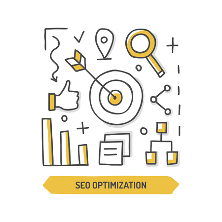 SEO optimization doodle icon. Web development. Hand drawn vector illustration.