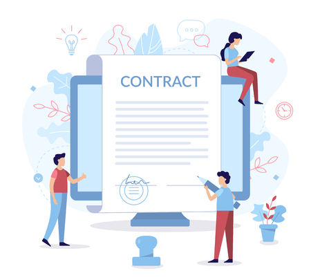 Signing a contract for website development. A man holds a pen and wants to sign. Business concept. Flat vector illustration.